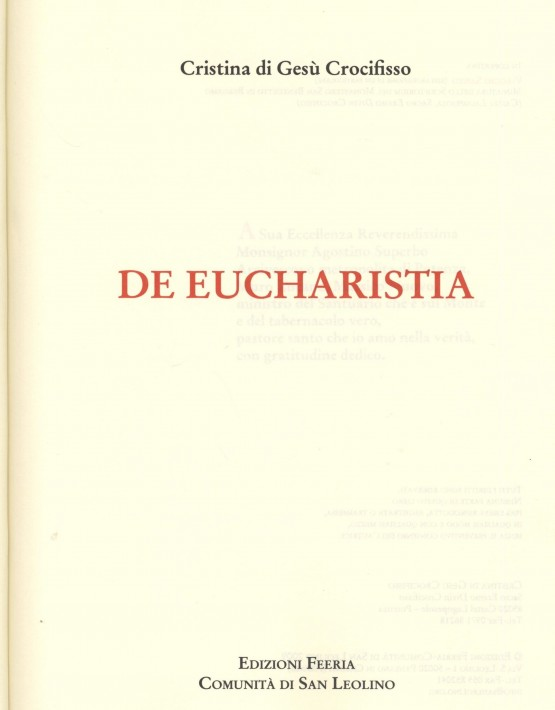De Eucharistia - prima pagina